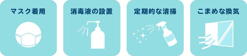 コロナ対策として、マスクの着用、消毒液の設置、定期的な清掃、こまめな換気を行っております